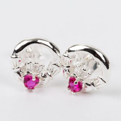 Claddagh Earrings Sterling Silver CZ Ruby Stone